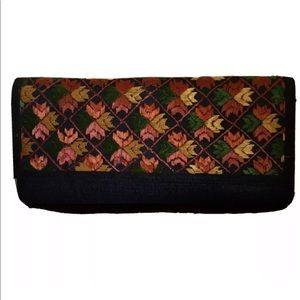 Fab India- Embroidered Black Silk Clutch Bag. NWOT
